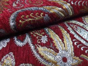 red chenille fabric sofa
