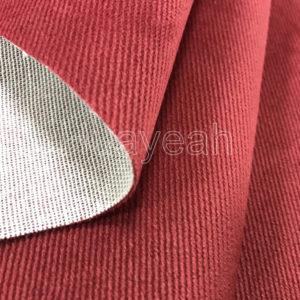 red velour fabric backside