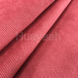 red velour fabric close look